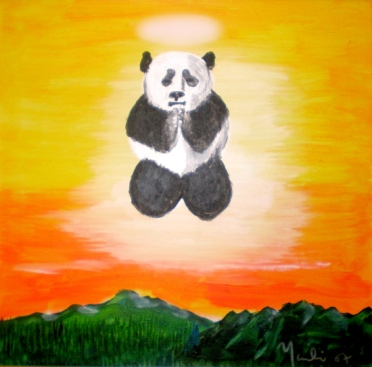 "Praying Panda: Acrylic on Canvas: 14""x14"" 2008: Private Collection"