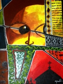 "Songs of Dawit, Acrylic on Canvas: 12"" x18"" 2009 SOLD"